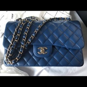 2018 18C CHANEL Double Flap Jumbo Blue Lambskin